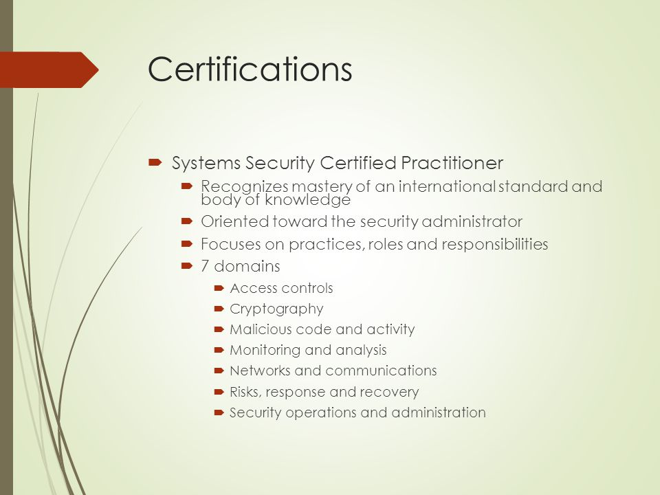 Certifications Systems Security Certified Practitioner