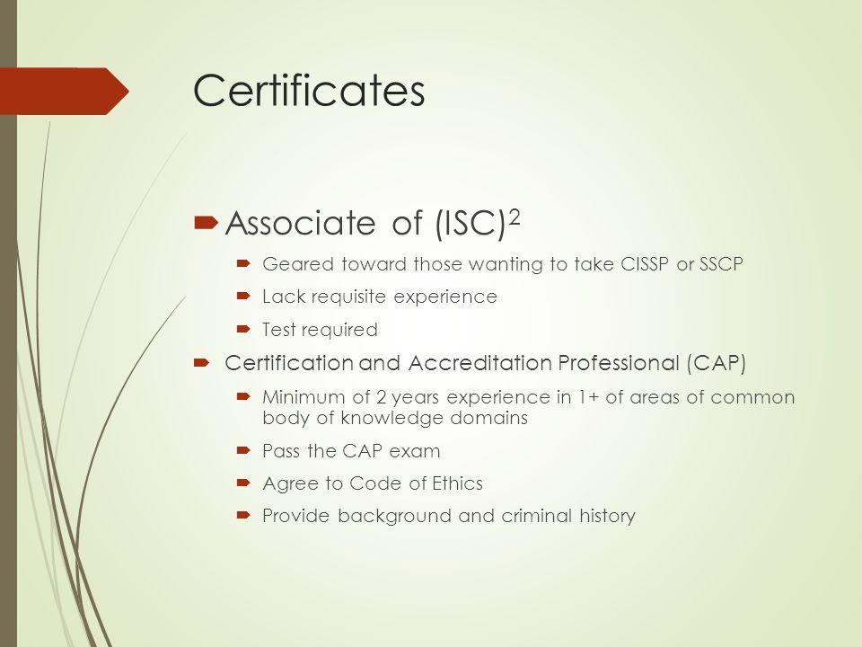 Certificates Associate of (ISC)2