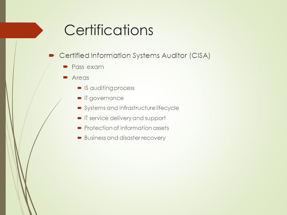 Certifications Certified Information Systems Auditor (CISA) Pass exam