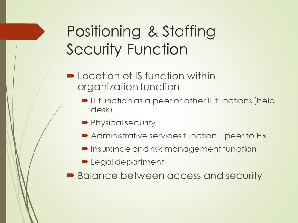 Positioning & Staffing Security Function