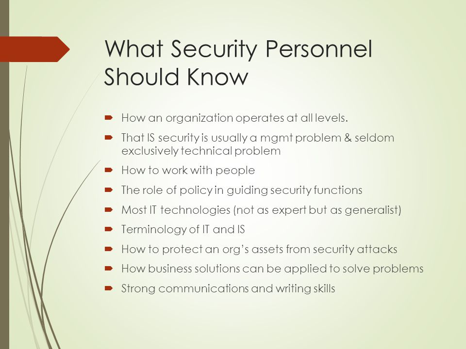 What Security Personnel Should Know