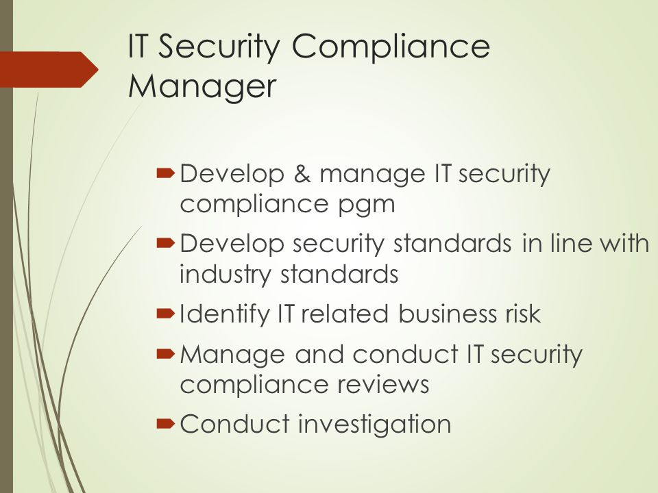 IT Security Compliance Manager