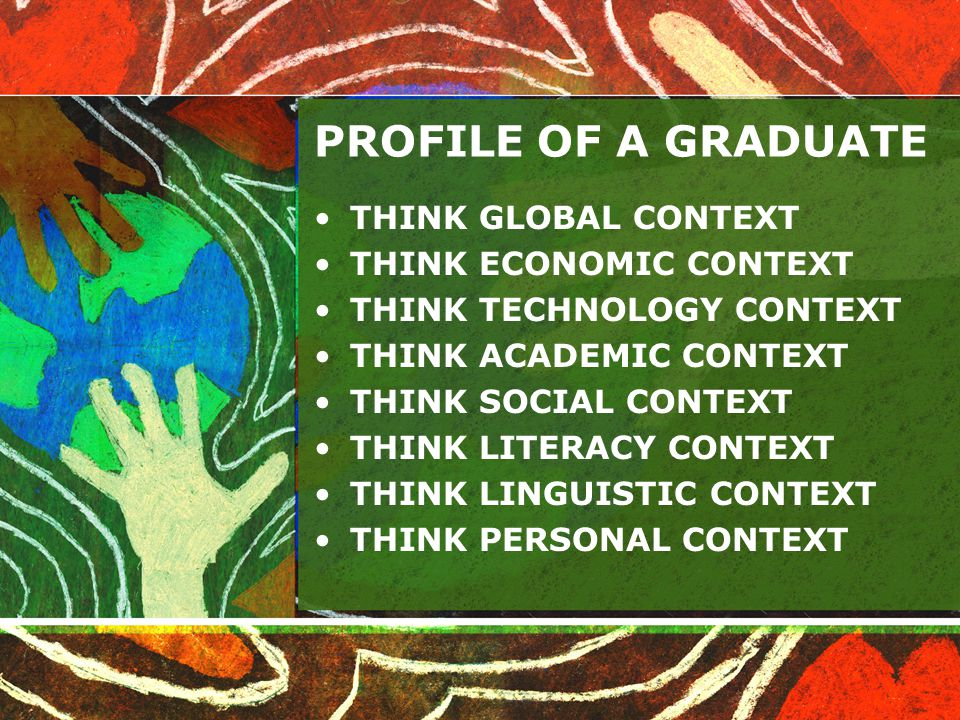 PROFILE OF A GRADUATE THINK GLOBAL CONTEXT THINK ECONOMIC CONTEXT