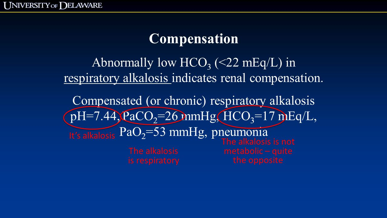 Compensation Abnormally low HCO3 (<22 mEq/L) in
