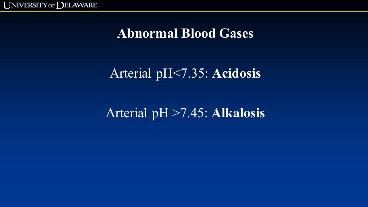 Arterial pH<7.35: Acidosis Arterial pH >7.45: Alkalosis
