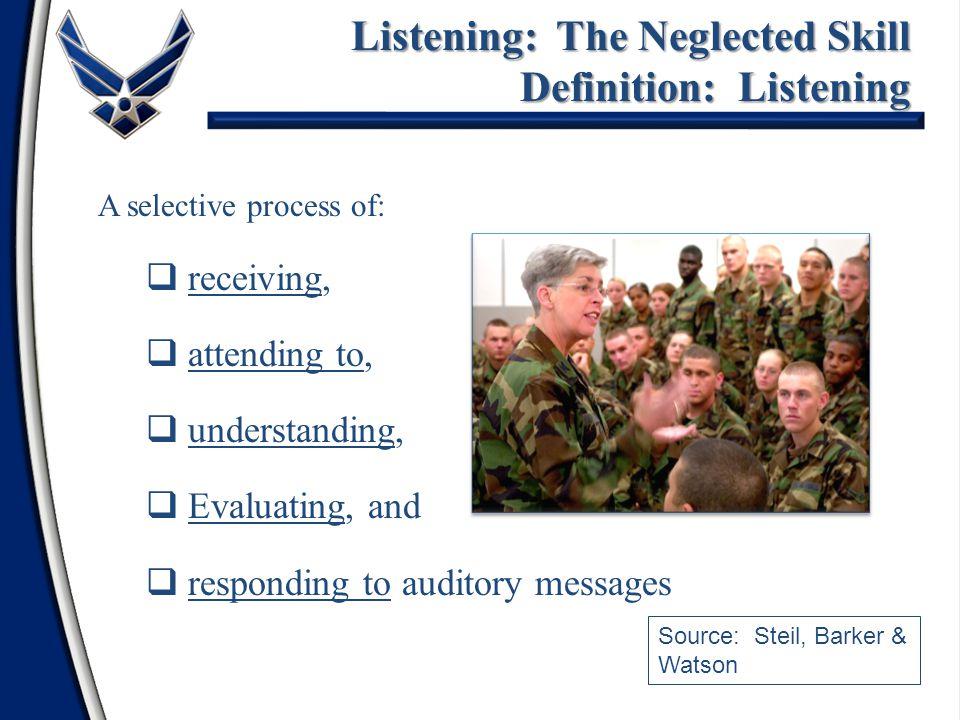 Listening: The Neglected Skill Definition: Listening