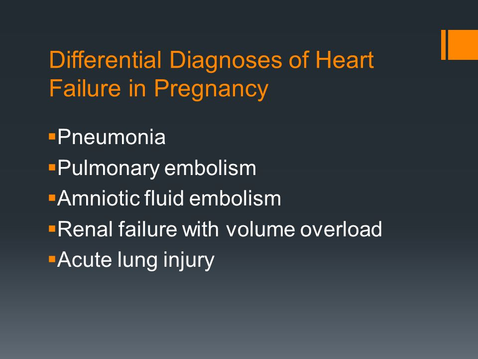 Differential Diagnoses of Heart Failure in Pregnancy
