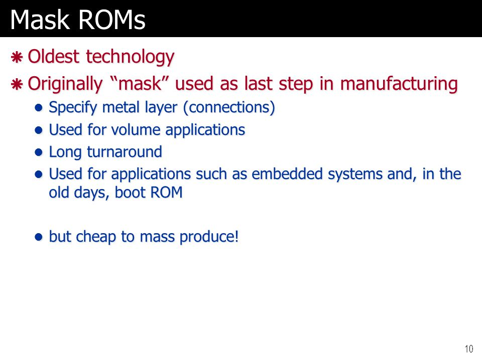 Mask ROMs Oldest technology