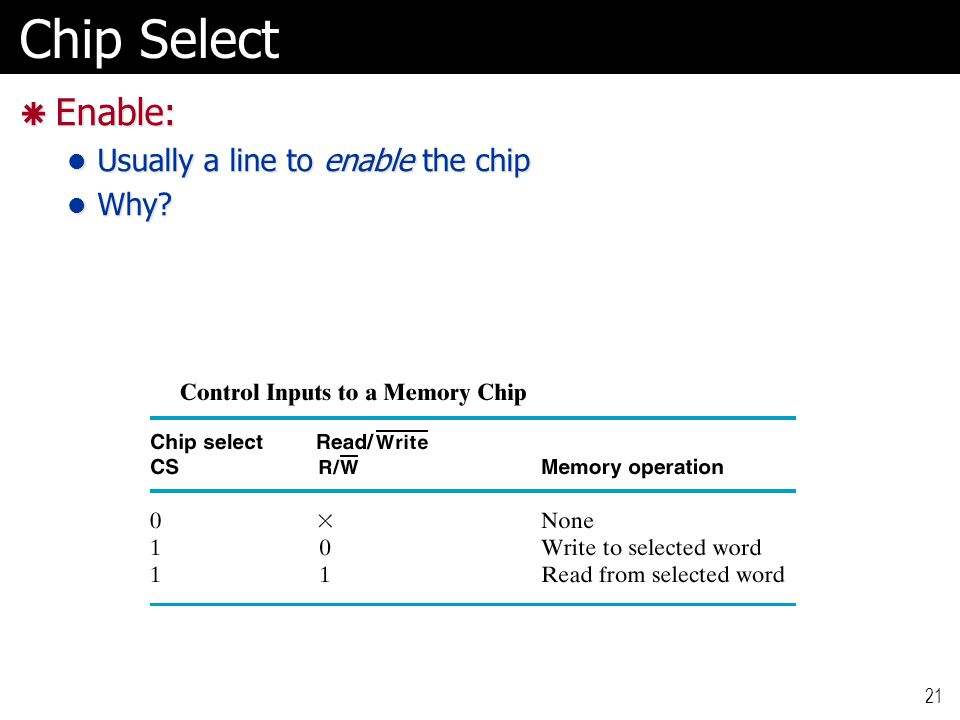 Chip Select Enable: Usually a line to enable the chip Why