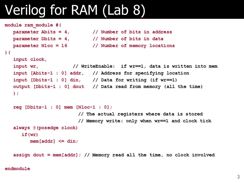 Verilog for RAM (Lab 8) module ram_module #(
