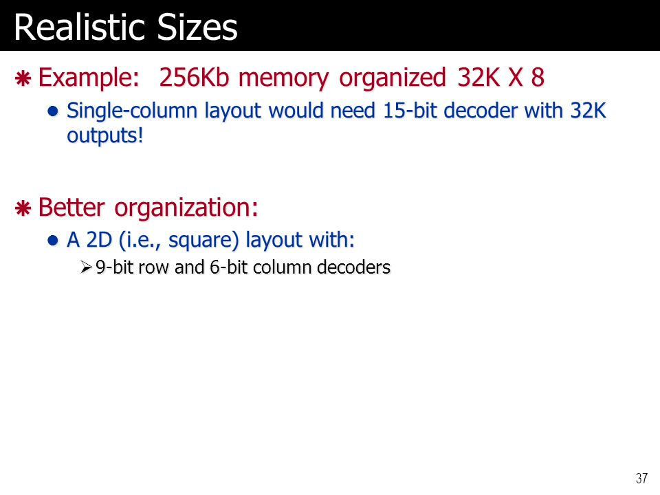 Realistic Sizes Example: 256Kb memory organized 32K X 8
