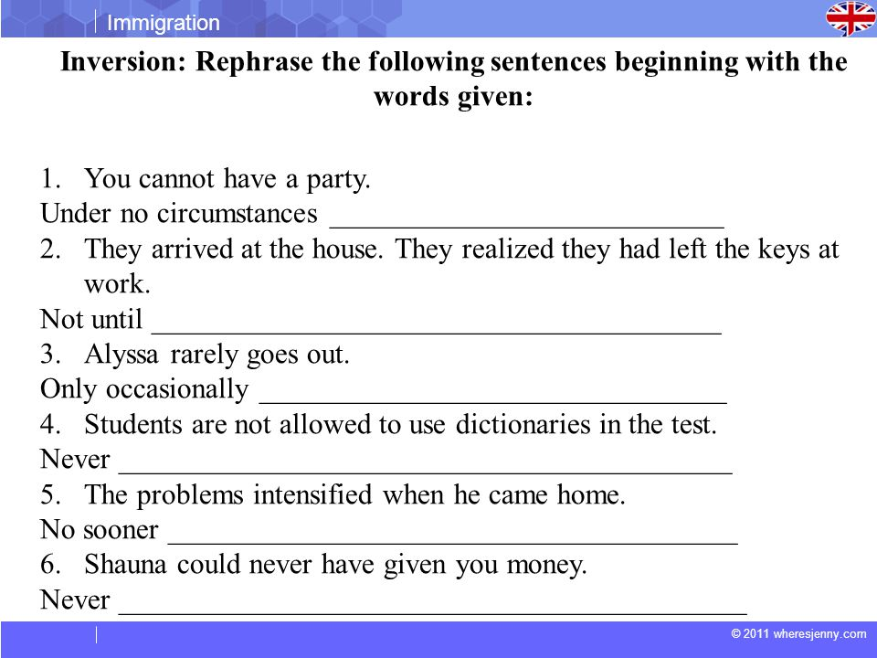 Inversion: Rephrase the following sentences beginning with the words given: