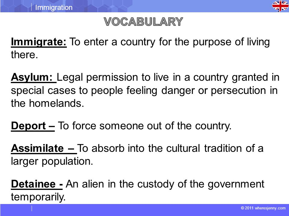Vocabulary Immigrate: To enter a country for the purpose of living there.