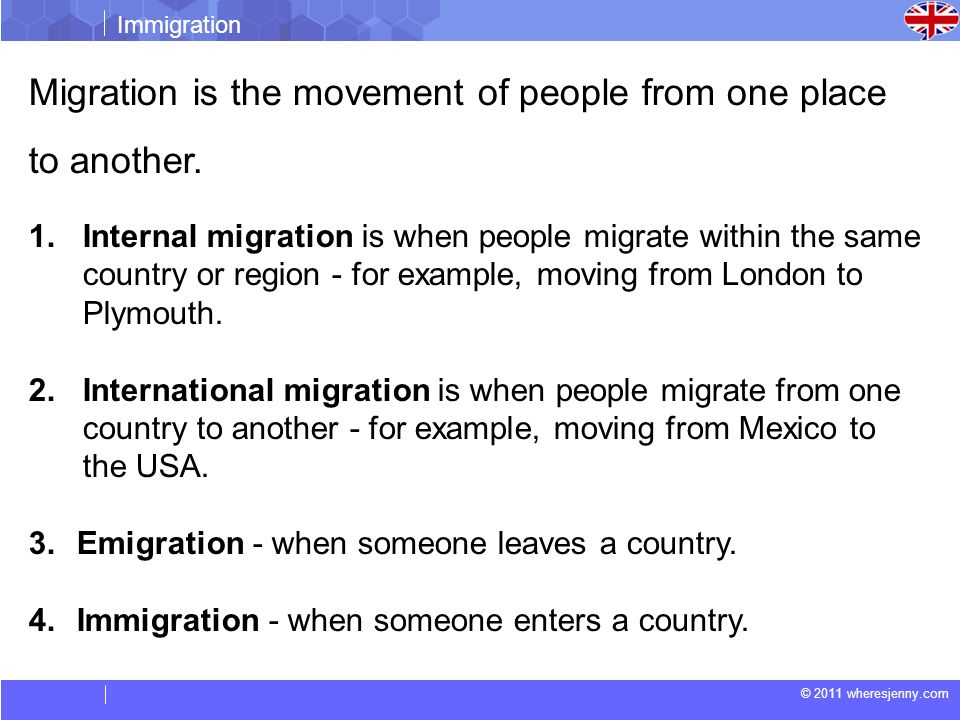 Migration is the movement of people from one place to another.