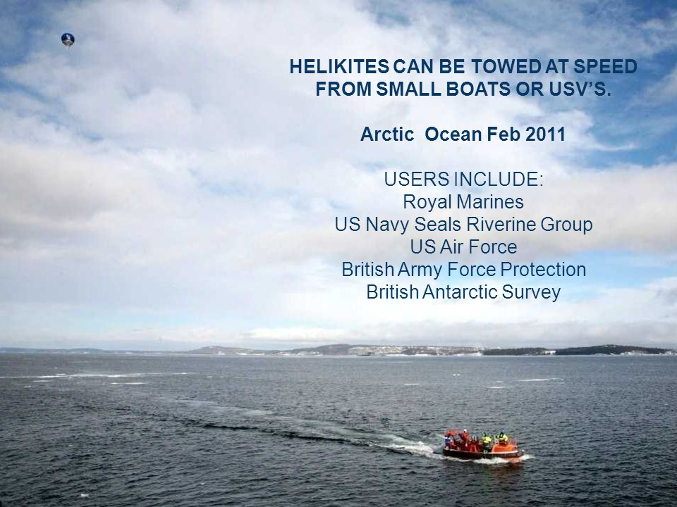 HELIKITES CAN BE TOWED AT SPEED FROM SMALL BOATS OR USV'S.