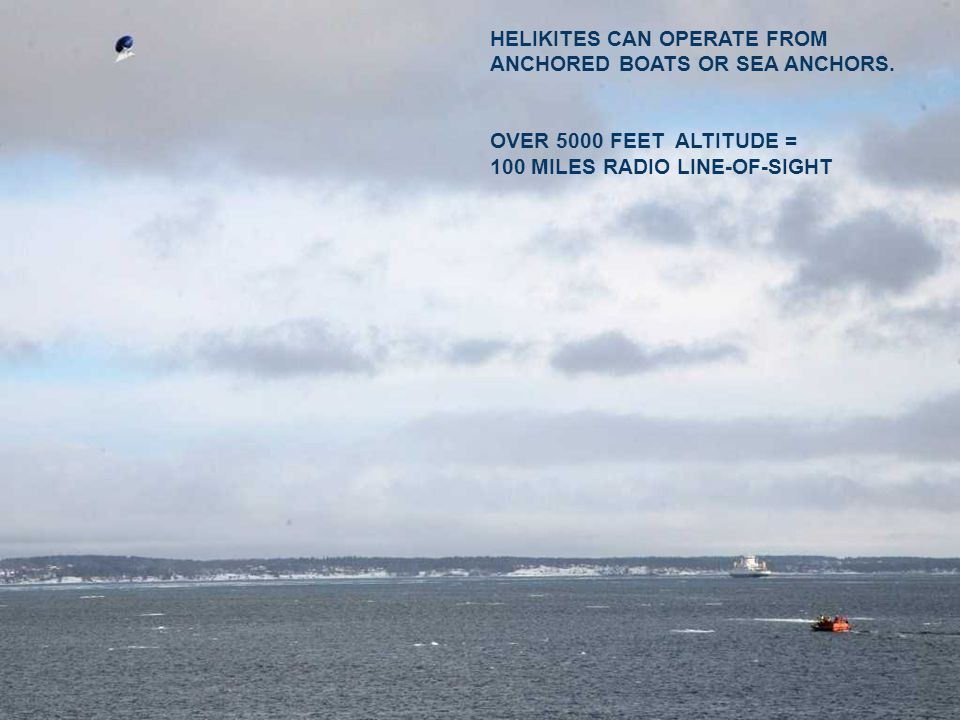 HELIKITES CAN OPERATE FROM ANCHORED BOATS OR SEA ANCHORS.