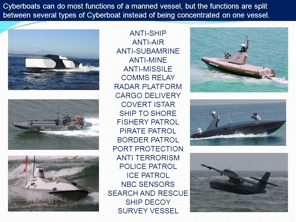 Cyberboats can do most functions of a manned vessel, but the functions are split between several types of Cyberboat instead of being concentrated on one vessel.
