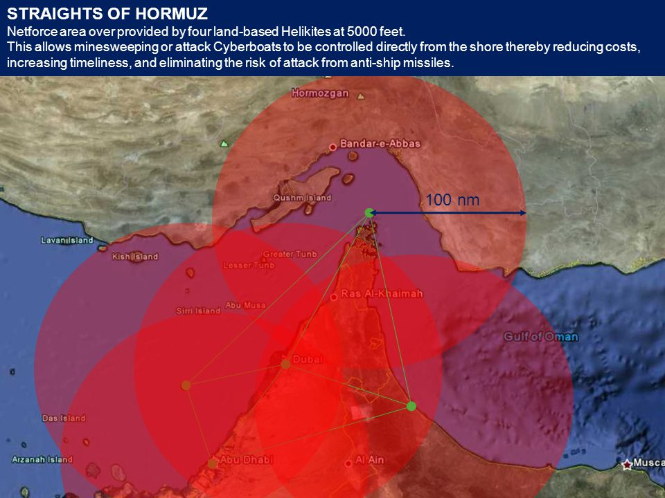 STRAIGHTS OF HORMUZ Netforce area over provided by four land-based Helikites at 5000 feet.