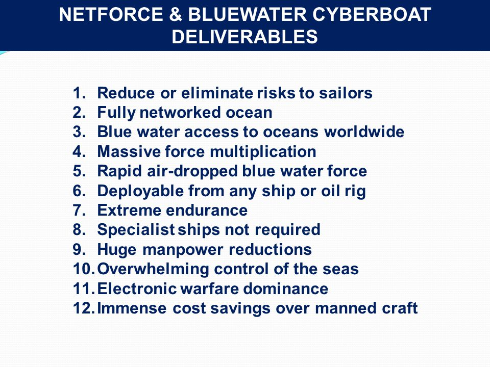 NETFORCE & BLUEWATER CYBERBOAT DELIVERABLES