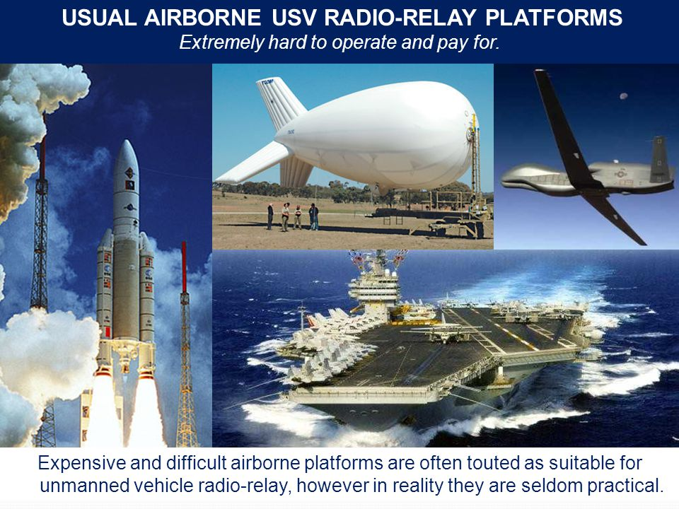 USUAL AIRBORNE USV RADIO-RELAY PLATFORMS Extremely hard to operate and pay for.