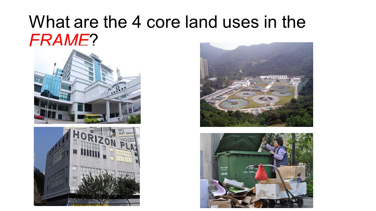 What are the 4 core land uses in the FRAME