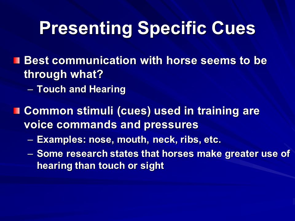 Presenting Specific Cues