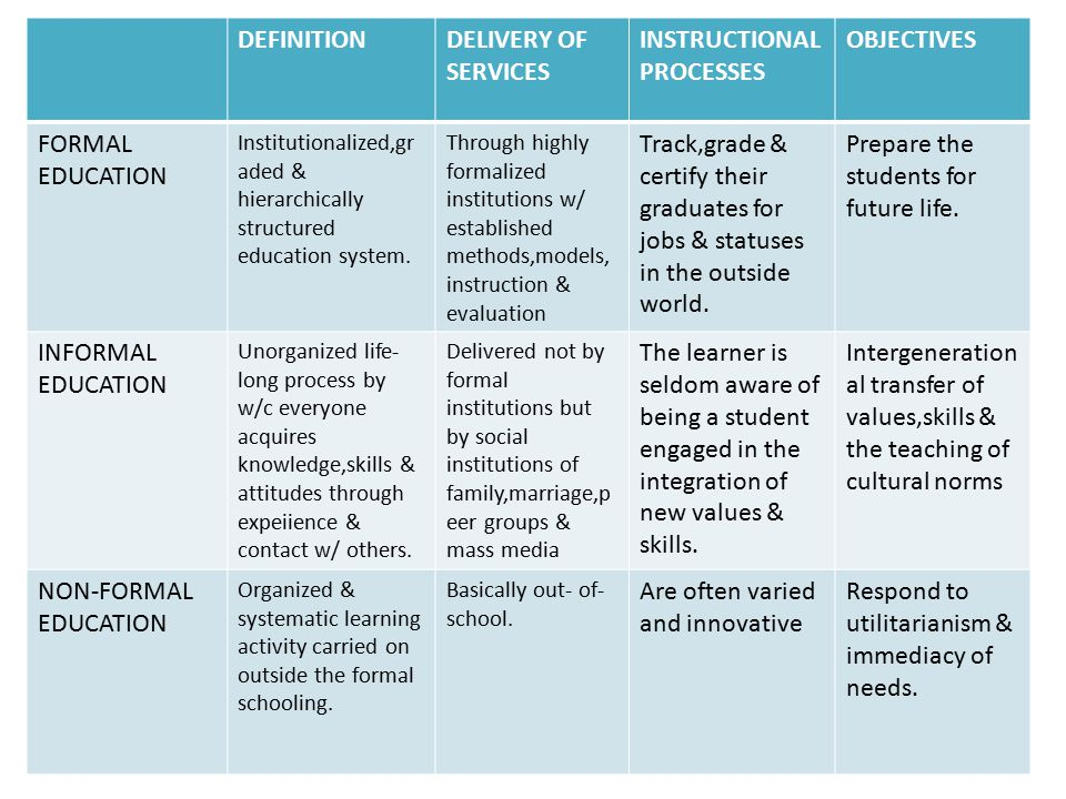 INSTRUCTIONAL PROCESSES OBJECTIVES