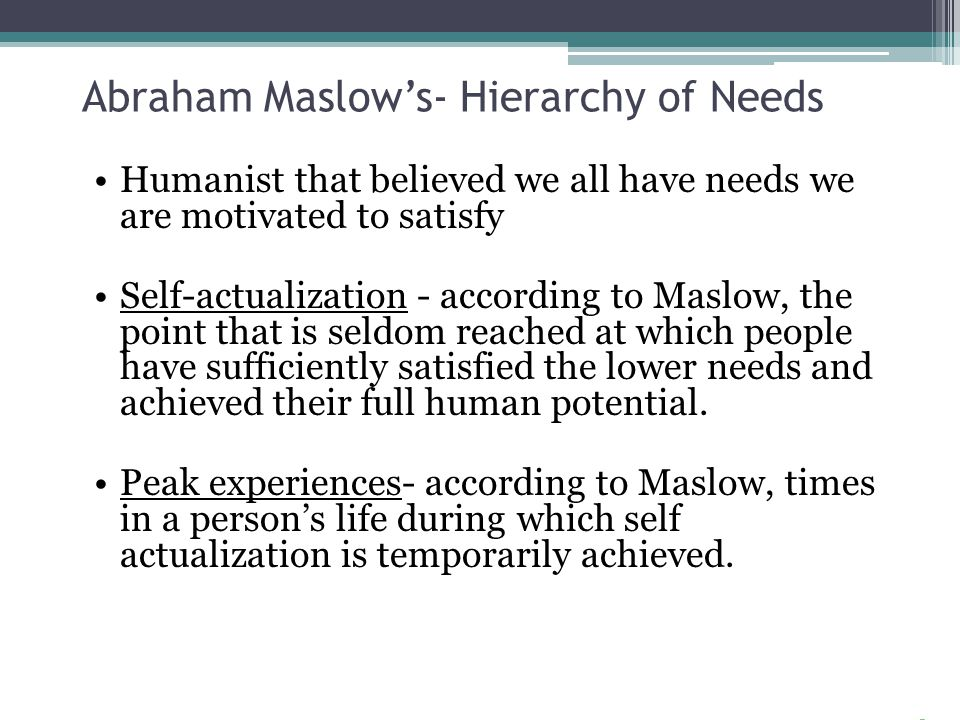 Abraham Maslow's- Hierarchy of Needs