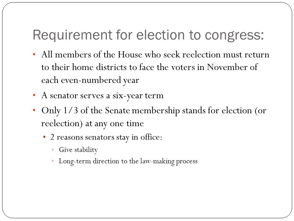 Requirement for election to congress: