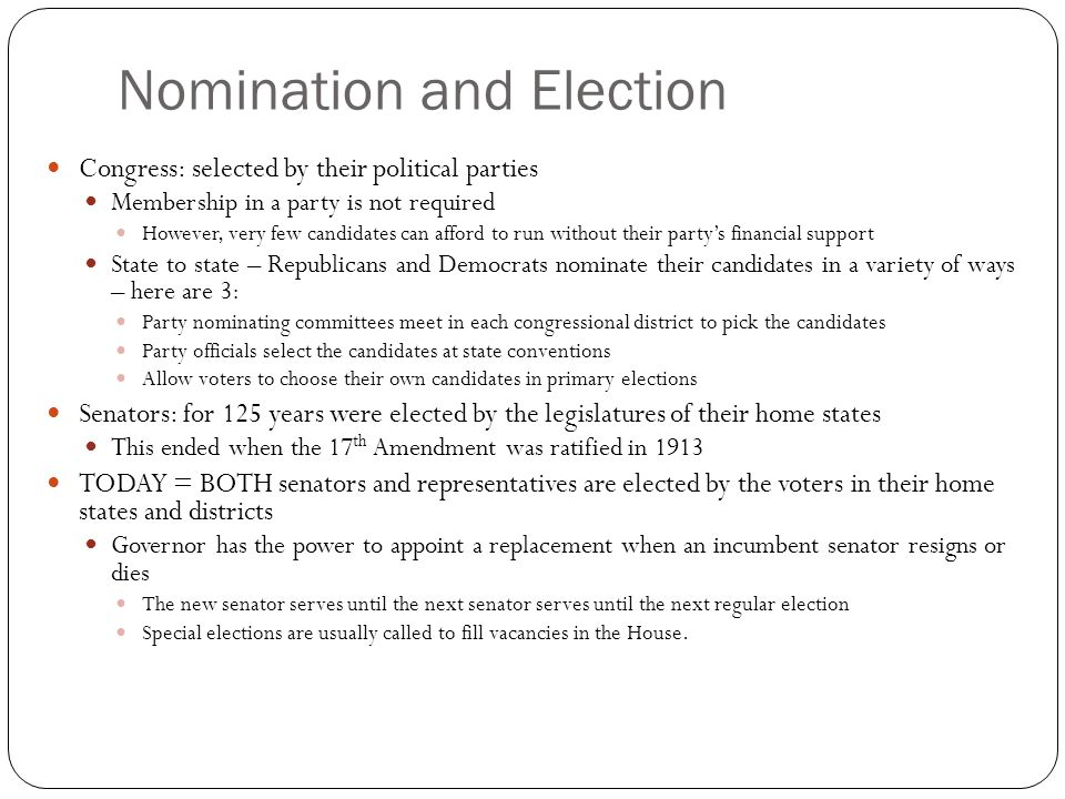 Nomination and Election