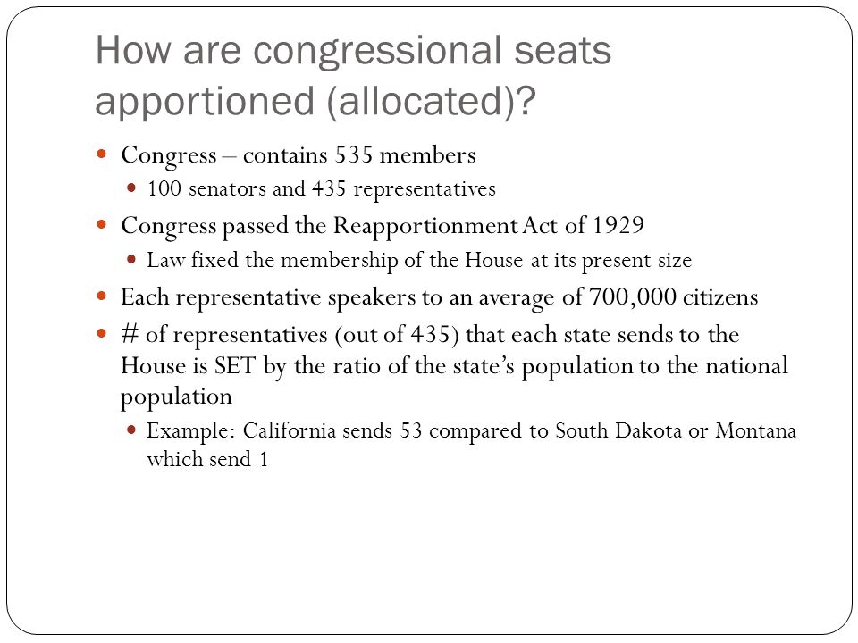 How are congressional seats apportioned (allocated)