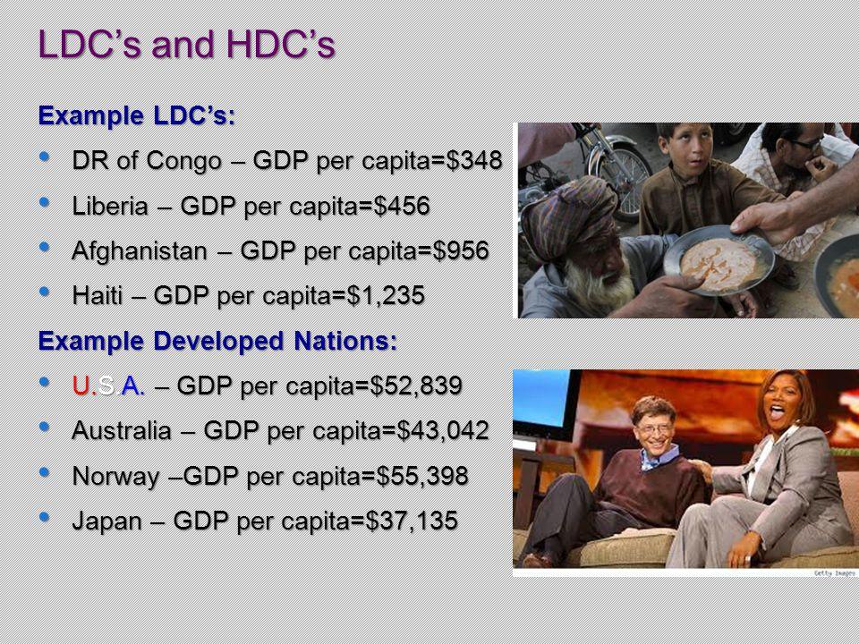 LDC's and HDC's Example LDC's: DR of Congo – GDP per capita=$348