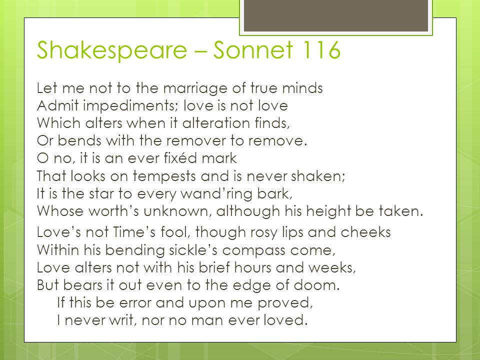Shakespeare – Sonnet 116