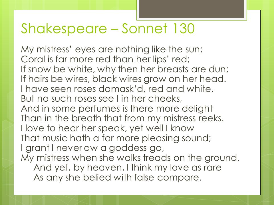 Shakespeare – Sonnet 130