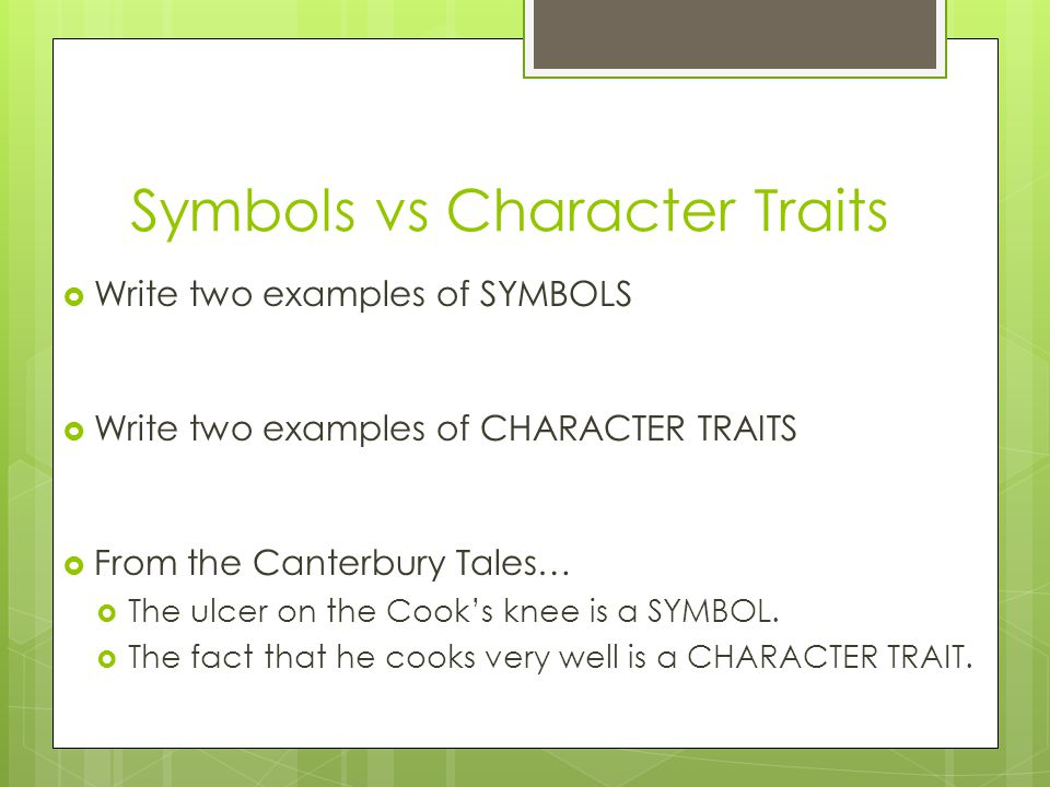 Symbols vs Character Traits