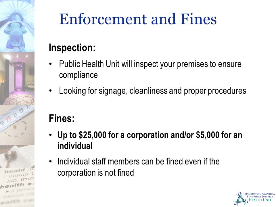 Enforcement and Fines Inspection: Fines: