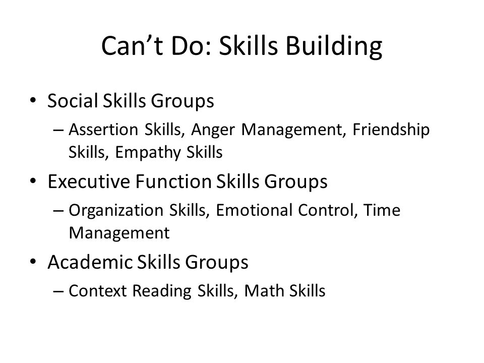 Can't Do: Skills Building