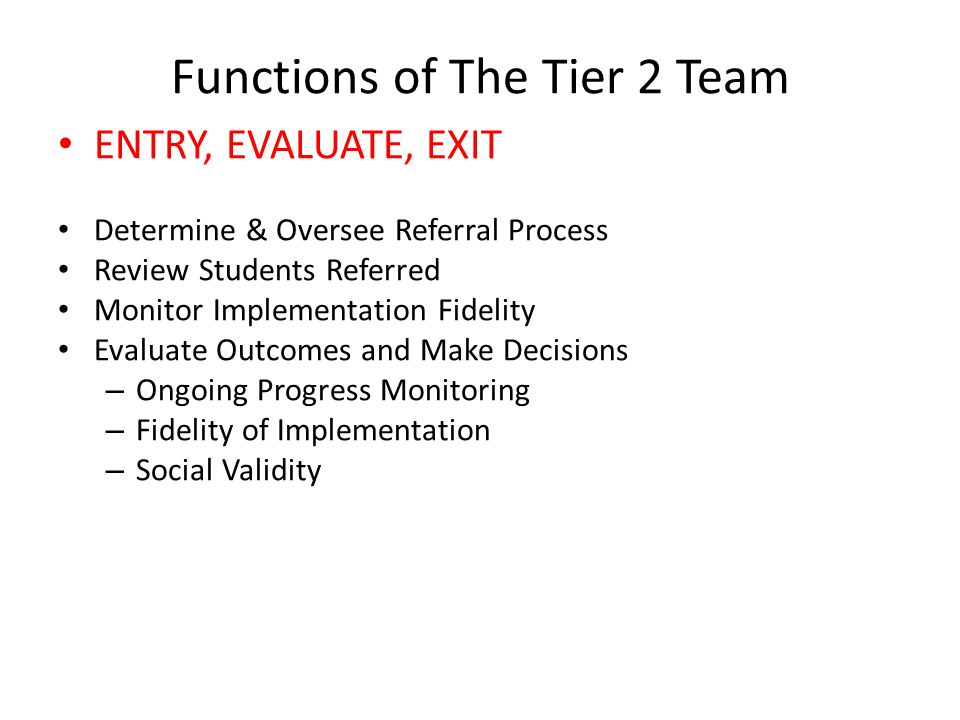 Functions of The Tier 2 Team
