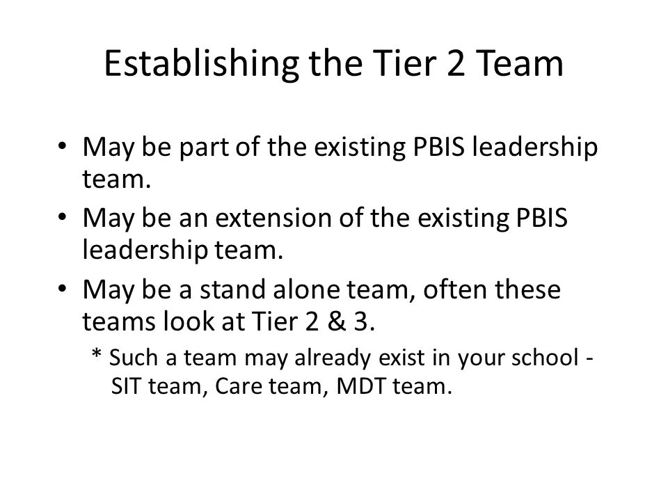 Establishing the Tier 2 Team