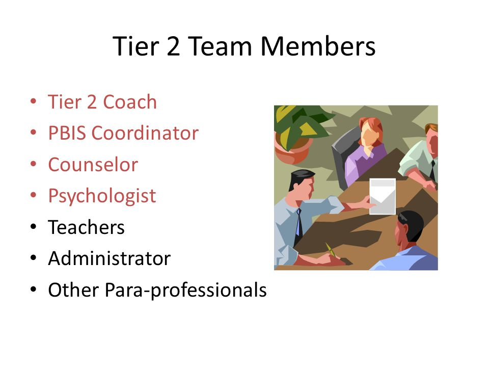 Tier 2 Team Members Tier 2 Coach PBIS Coordinator Counselor
