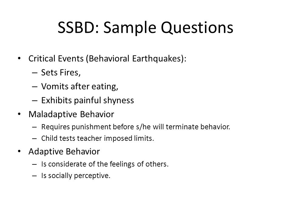 SSBD: Sample Questions