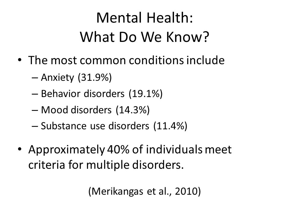 Mental Health: What Do We Know