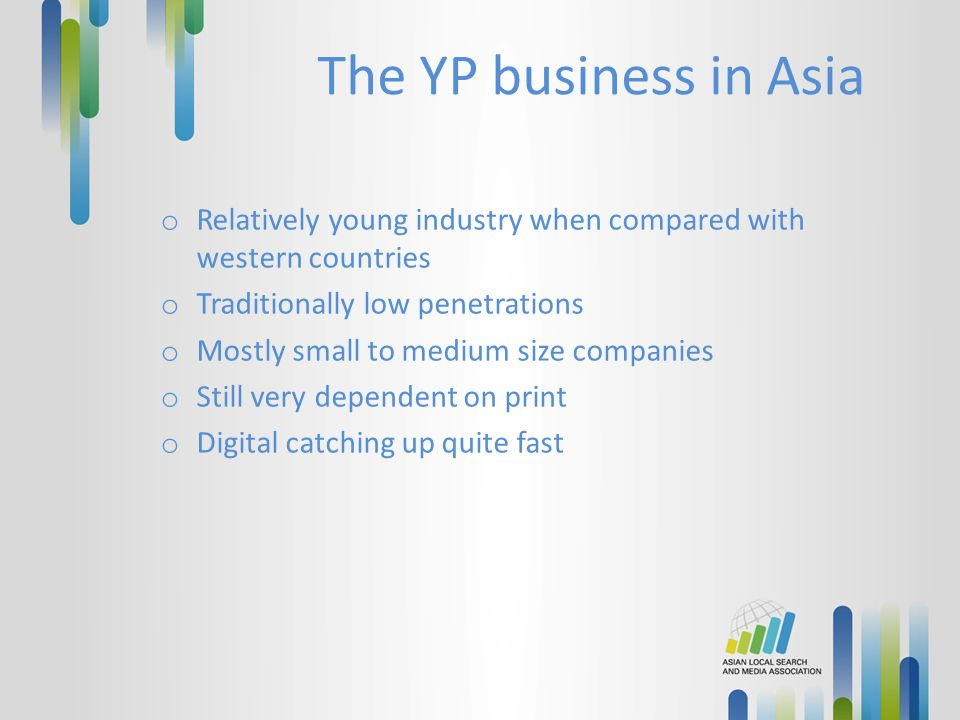 The YP business in Asia Relatively young industry when compared with western countries. Traditionally low penetrations.