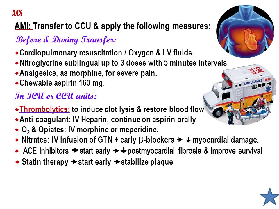 AMI: Transfer to CCU & apply the following measures: