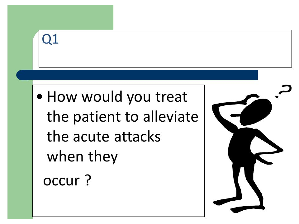 Q1 How would you treat the patient to alleviate the acute attacks when they. occur