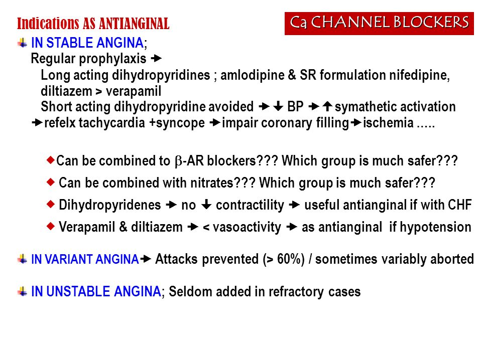 Ca CHANNEL BLOCKERS Indications AS ANTIANGINAL IN STABLE ANGINA;