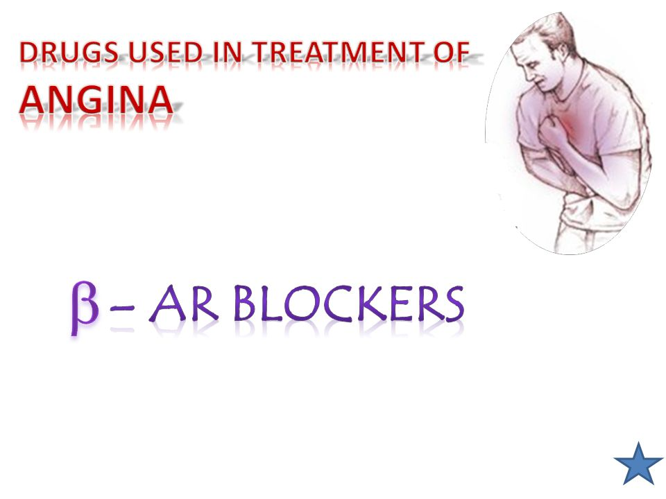 DRUGS USED IN TREATMENT OF ANGINA