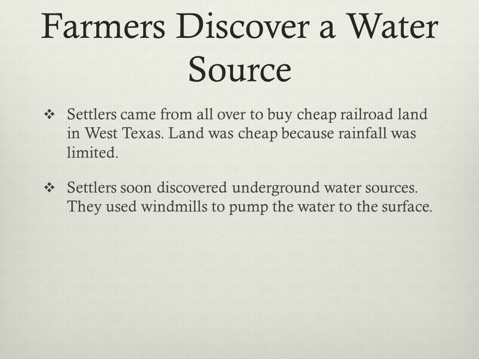 Farmers Discover a Water Source