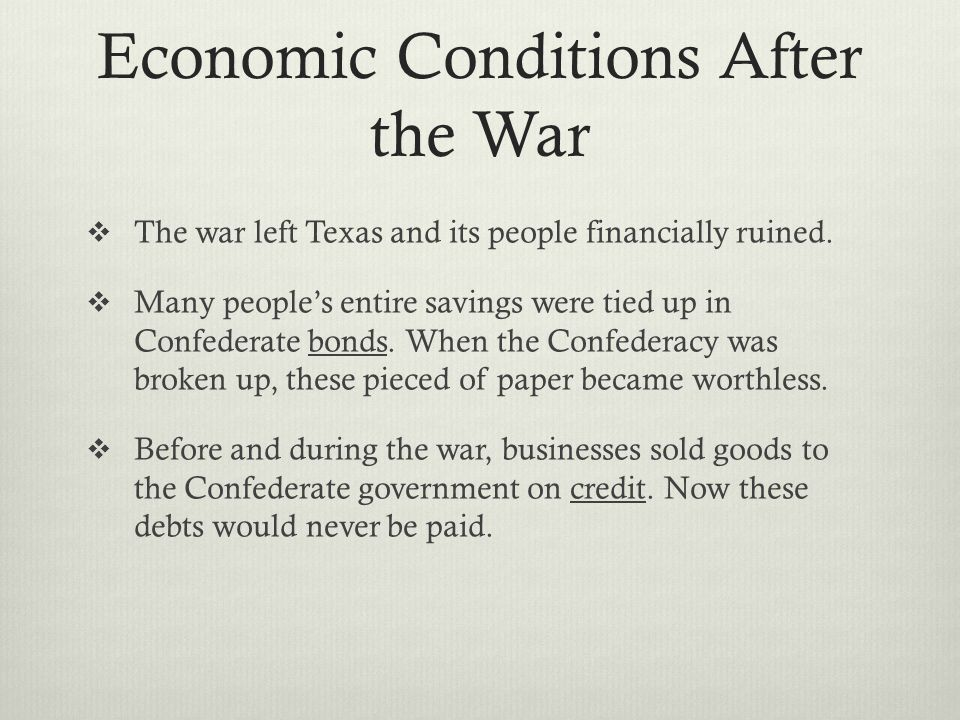 Economic Conditions After the War