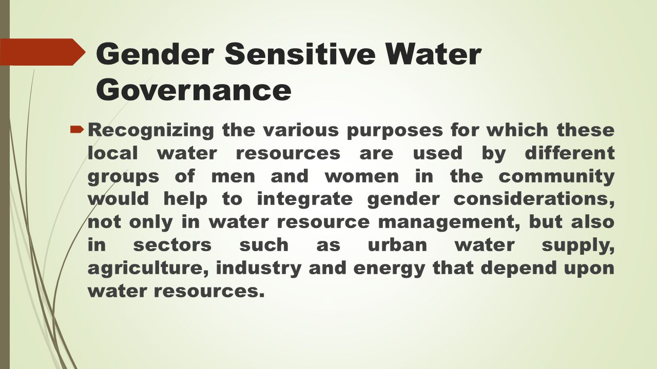 Gender Sensitive Water Governance